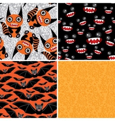 Happy halloween set of four seamless patterns bats vector
