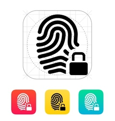 Fingerprint and thumbprint with lock icon vector