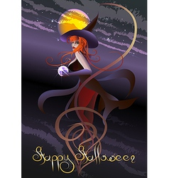 Witch with a crystal ball vector
