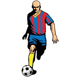 Soccer player dribbling ball vector
