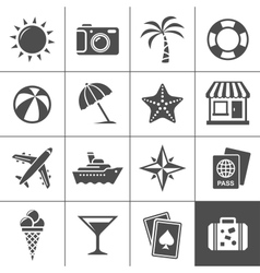 Vacation and travel icons vector