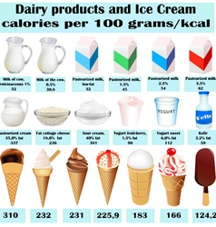 Set of different dairy product vector