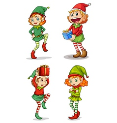 Four smiling elves vector