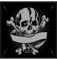 Skull bone cross and ribbon vector