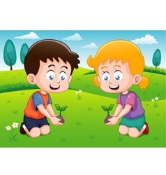 Little kids is planting small plant in garden vector