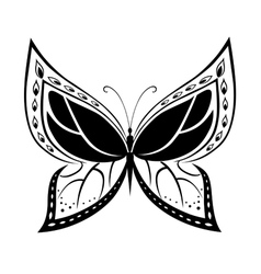 Ornamented abstract silhouette butterfly vector