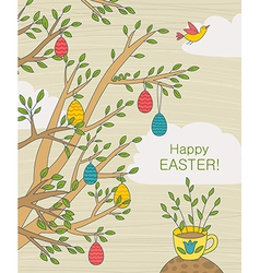 Easter greeting card with colorful eggs vector