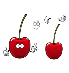 Fresh sweet cherry fruit cartoon character vector