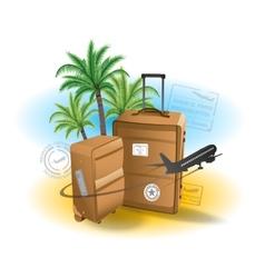 Travel suitcase background summer beach vector