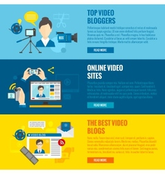 Video blog banners vector