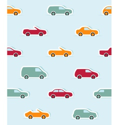 Seamless pattern with paper cars vector