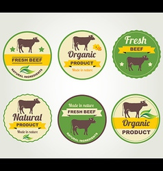 Badges beef organic product design template vector