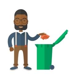 Black man throwing paper in a garbage bin vector