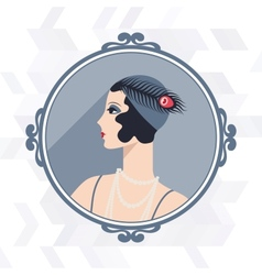 Retro background with beautiful girl of 1920s vector