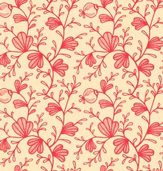 Floral pattern retro red vector