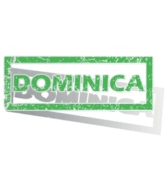 Green outlined dominica stamp vector