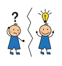 Cartoon man with a question mark and a light bulb vector