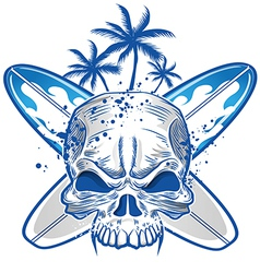 Skull on surfboard background vector