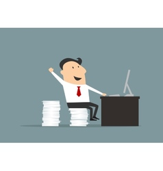 Happy flat businessman with computer vector