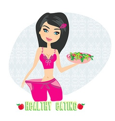 A young woman in a large pants after diet vector