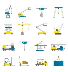 Lifting equipment flat icon set vector