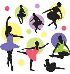Set ballet silhouettes vector