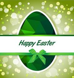 Easter polygonal green eggs greeting card vector