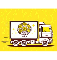 Truck free and fast delivering bouquet of vector