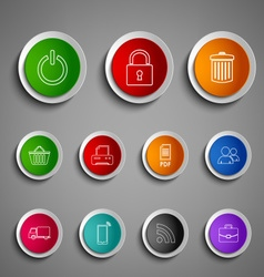 Collection round color buttons icons design vector