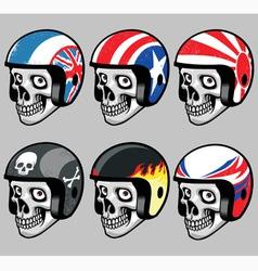 Skull wearing various retro helmet vector