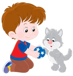 Boy and kitten vector