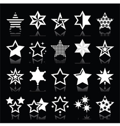 Stars white icons with reflection isolated vector