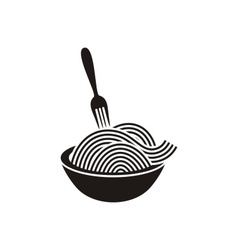 Spaghetti with fork icon vector