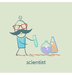 Scientist with test tubes vector