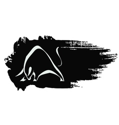 Silhouette strong charging bull vector