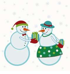 Snowmen give gifts vector