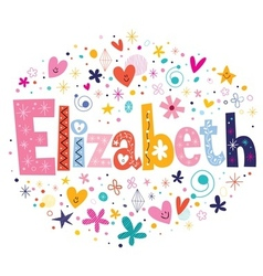 Elizabeth female name decorative lettering type vector