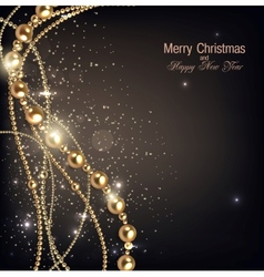 Elegant christmas background with golden garland vector