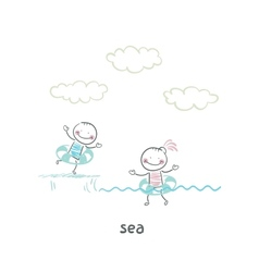 Swim in the sea vector