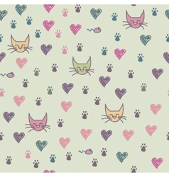 A seamless pattern of cats footprint vector