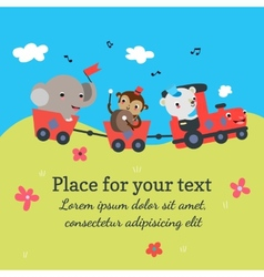 Cartoon train with animals vector