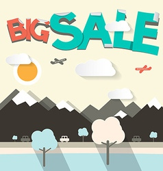 Big sale flat design with mountains and cars vector