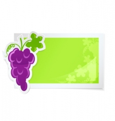 Sticker with grapes cluster vector