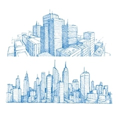 Hand drawn cityscapes and buildings vector