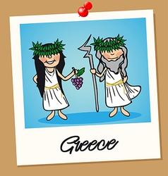 Greece travel polaroid people vector