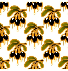 Seamless pattern of olive oil dripping from olives vector