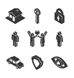 Family and property icons vector