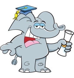 Cartoon elephant holding a diploma vector