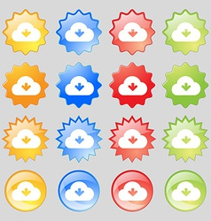 Download from cloud icon sign big set of 16 vector