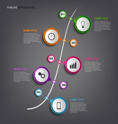 Time line info graphic with colored rounds design vector